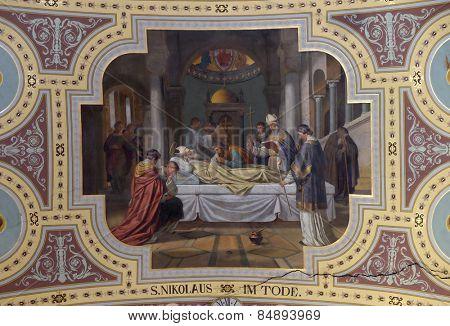 BAD ISCHL, AUSTRIA - DECEMBER 14: Death of saint Nicholas, fresco painting in parish church of St. Nicholas in Bad Ischl, Austria on December 14, 2014.