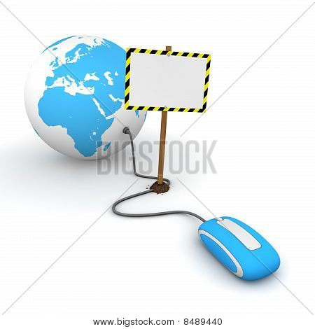Surfing The Web In Blue - Blocked By A White Rectangular Sign With Warning Stripes