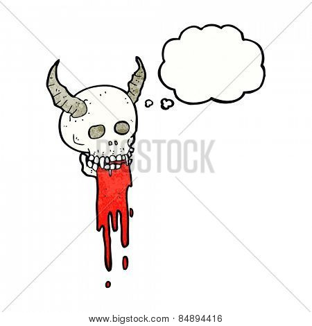 cartoon spooky halloween skull with thought bubble
