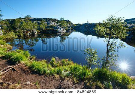 Sun Reflection In Blue Mountain Lake