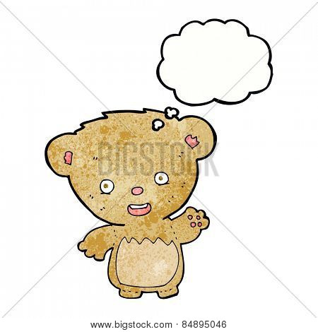 cartoon teddy bear waving with thought bubble