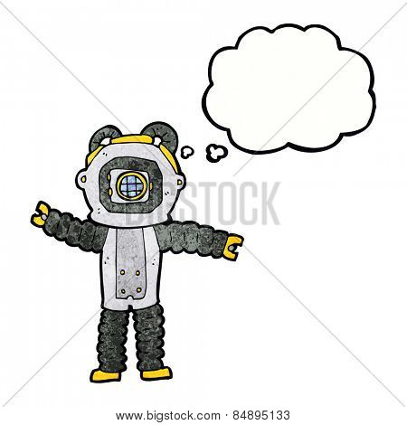 cartoon deep sea diver with thought bubble