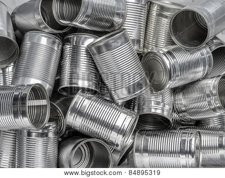 Pile of many empty food cans