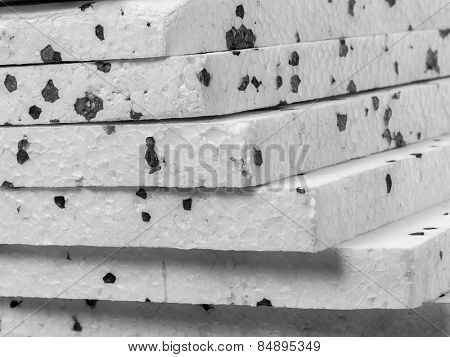 Closeup of insulation styrofoam panels with graphite additive