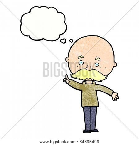 cartoon bald man with idea with thought bubble