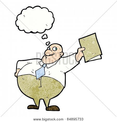 cartoon happy boss with file with thought bubble