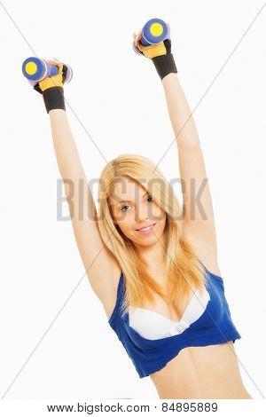 Attractive girl doing sport exercises