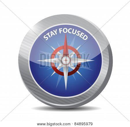 Stay Focused Compass Illustration Design