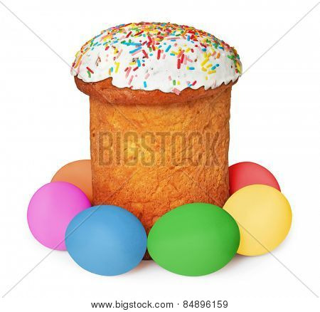 Easter eggs and cake, isolated on white background