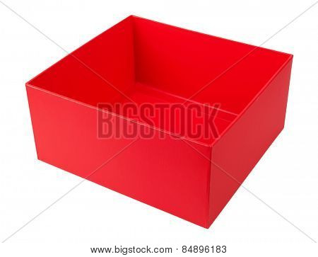 Empty red cardboard box isolated on white background