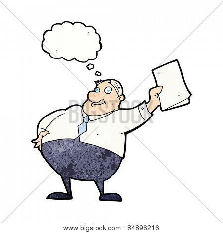cartoon boss waving papers with thought bubble