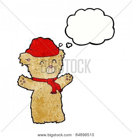 cartoon teddy bear in hat and scarf with thought bubble