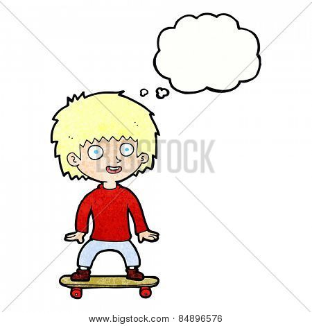 cartoon boy on skateboard with thought bubble