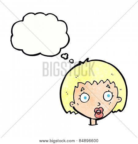 cartoon surprised female face with thought bubble