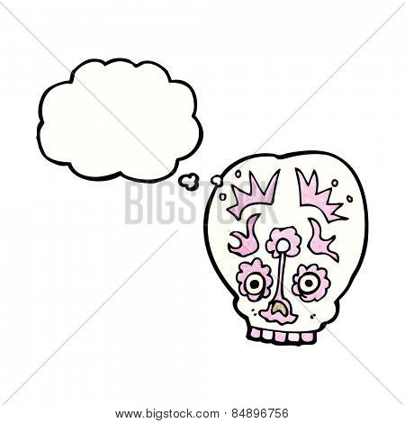 cartoon sugar skull with thought bubble