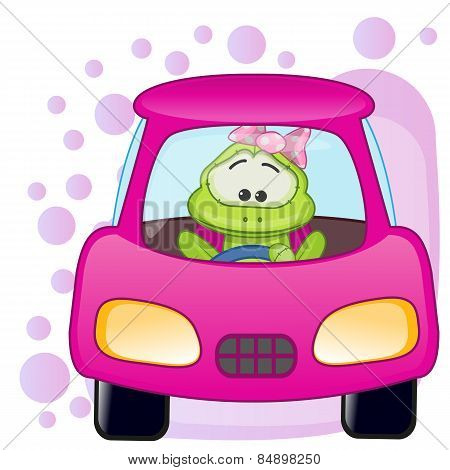 Frog Girl In A Car