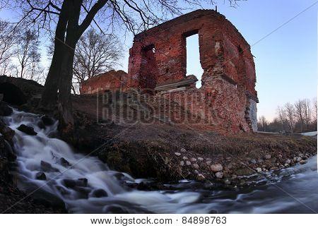 brick Ruin on the shore of lake