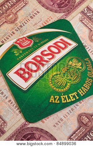 Borsodi Beermat And Old Hungarian Money.