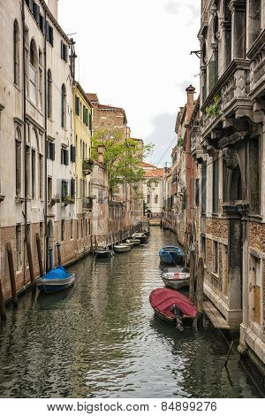 Long Narrow Straight Channel In Venice