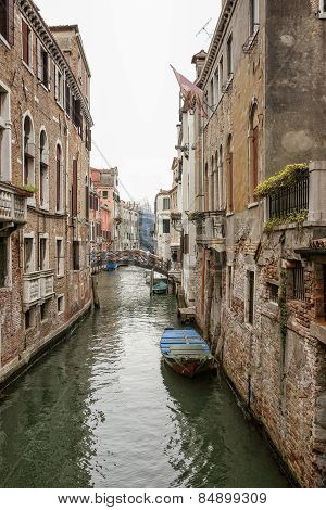 Narrow Channel View In Venice