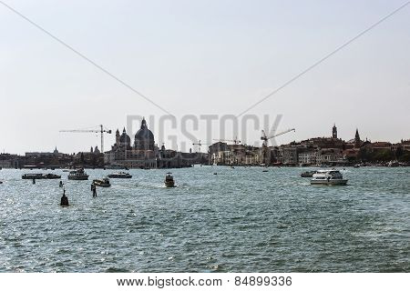 Santa Maria Della Salute Basilica And City Skyline In Summer Venice