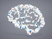 picture of pharmaceuticals  - 3d pharmaceutical brain sign with included clipping path - JPG
