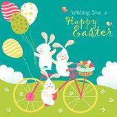 stock photo of gift basket  - Easter bunnies and easter eggs - JPG