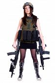 stock photo of assault-rifle  - Woman in a military camouflage with two assault rifles isolated over white background - JPG