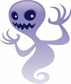 pic of banshee  - Vector cartoon illustration of a spooky ghost character with an evil grin - JPG