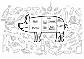 image of beef shank  - Vector illustration of beef pork lamb and chicken vegetables image bread drinks and cooking tools - JPG