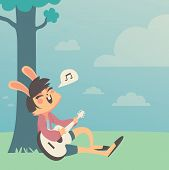 Постер, плакат: Bunny Girl Singing under a Tree