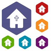 stock photo of cult  - Protestant church rhombus icons set in different colors - JPG