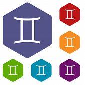 picture of gemini  - Gemini rhombus icons set in different colors - JPG