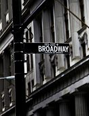 stock photo of broadway  - Broadway sign on Canyon of Heroes in New York in high contrast color  - JPG