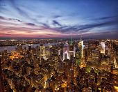 image of empire state building  - New York sunset skyline taken from the Empire State Building - JPG