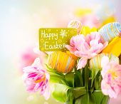 stock photo of easter flowers  - Easter Holiday flowers bunch with greeting card - JPG