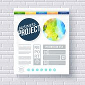 stock photo of text-box  - Business project design template for ecological projects with a fresh blue and green abstract design in a circle with a network overlay - JPG
