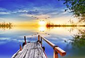 stock photo of pier a lake  - Pier on Lake colors - JPG