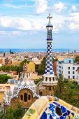 stock photo of gaudi barcelona  - Park Guell by architect Gaudi in a summer day in Barcelona Spain - JPG