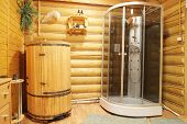 stock photo of shower-cubicle  - Shower cubicle and cedar barrel - JPG