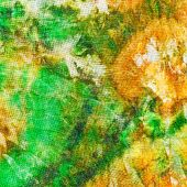 image of batik  - abstract pattern of green yellow batik painted on silk close up - JPG