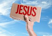 stock photo of jesus sign  - Jesus card with sky background - JPG