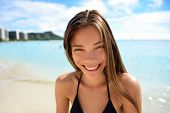 picture of waikiki  - Happy healthy toothy smiling Asian woman  - JPG
