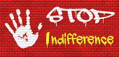 picture of compassion  - indifference indifferent and ignorant care about show compassion give a helping hand or charity donation get involved and show involvement and concern graffiti on red brick wall - JPG