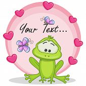 picture of pet frog  - Greeting card frog with hearts and butterfliers - JPG