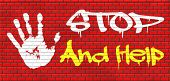 picture of helping others  - stop and help give a helping hand solidarity and give charity graffiti on red brick wall - JPG