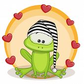 picture of baby frog  - Greeting card frog with hearts on a yellow - JPG