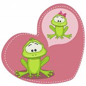 pic of cute frog  - Greeting card Cute Dreaming Frog on a heart background - JPG