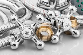picture of tapping  - plumbing and tools in a light background - JPG
