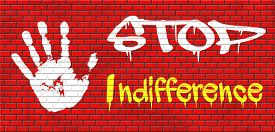 pic of compassion  - indifference indifferent and ignorant care about show compassion give a helping hand or charity donation get involved and show involvement and concern graffiti on red brick wall - JPG